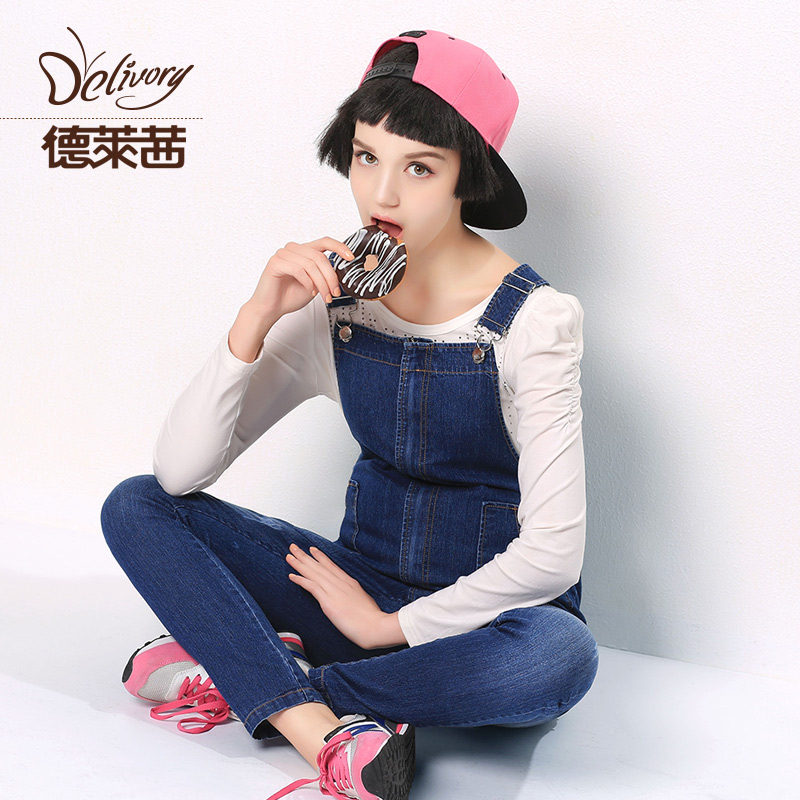 Pregnant women overalls spring and autumn was thin trousers casual pants autumn pregnant belly care of pregnant women pregnant women denim overalls pants feet Pants