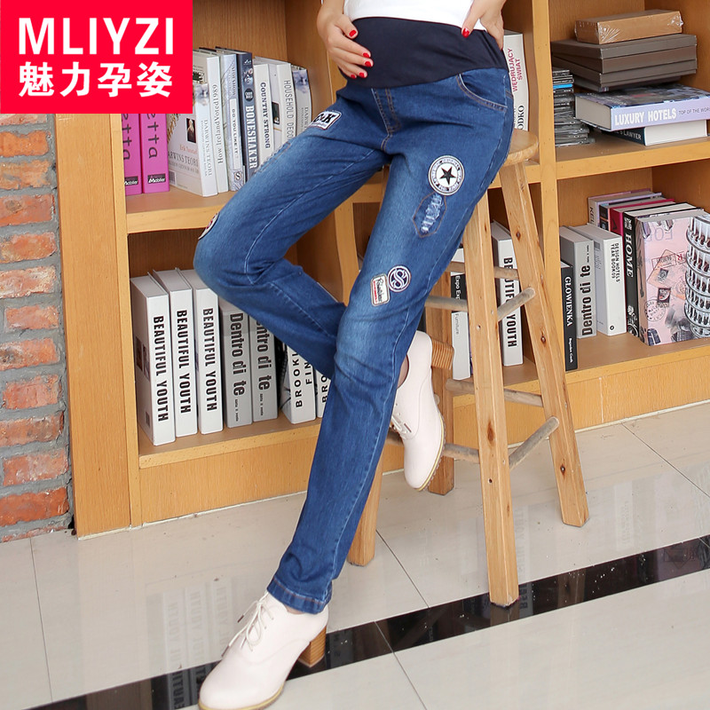 Pregnant women pants trousers maternity autumn korean pregnant belly denim pants fashion pencil pants feet was thin spring and autumn