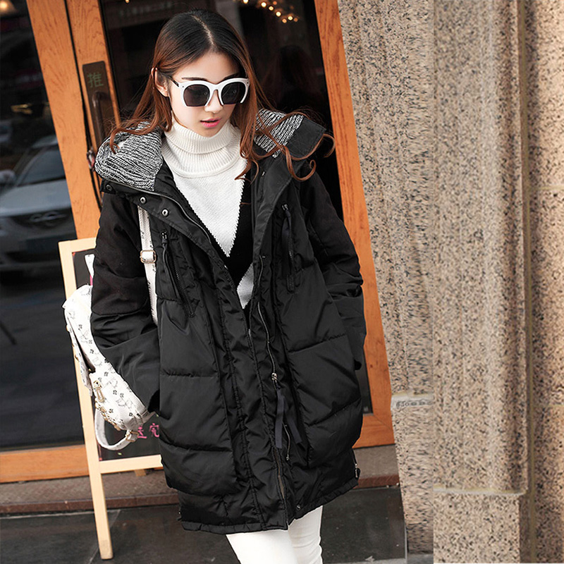 Pregnant women winter 2016 korean version of the jacket and long sections of pregnant women pregnant women loose big yards cotton padded jacket hooded jacket