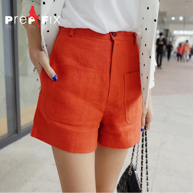 Prep & fix cotton shorts female summer korean version of a word big yards thin casual loose wide leg linen pants wide waist