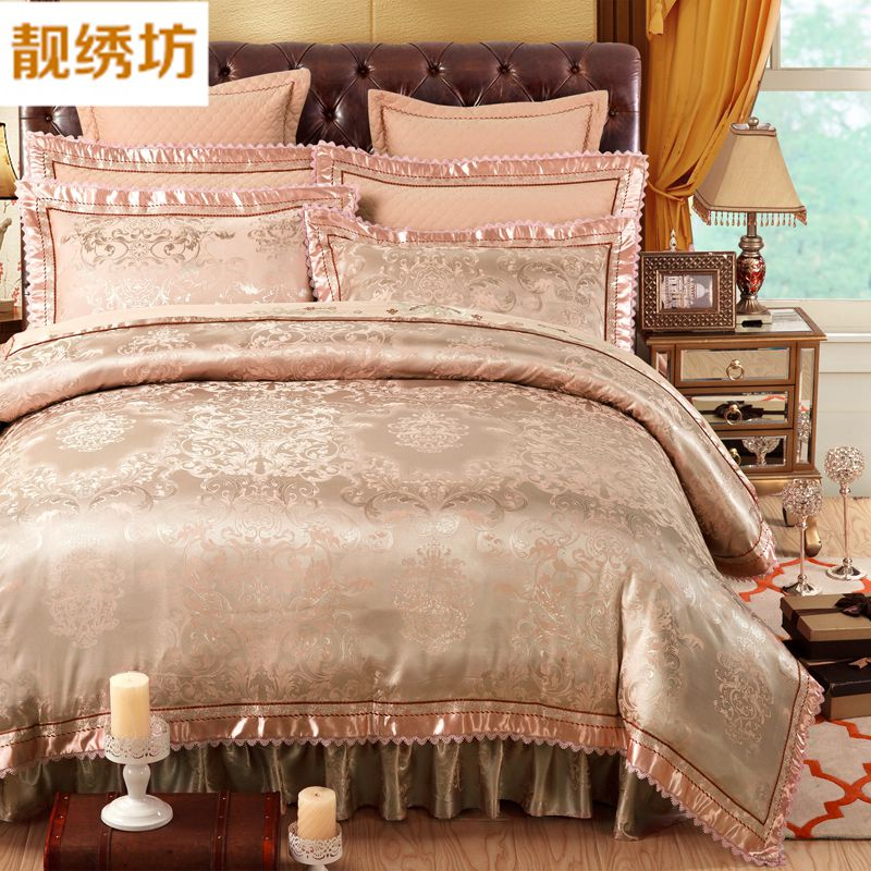 Pretty embroidered square cotton quilted bedspread bed skirt a family of four european cotton satin wedding bedding liu jiantao