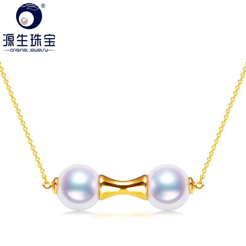 Primal jewelry double xi day akoya sea pearl pendant pearl necklace perfect circle to send his girlfriend ran korean