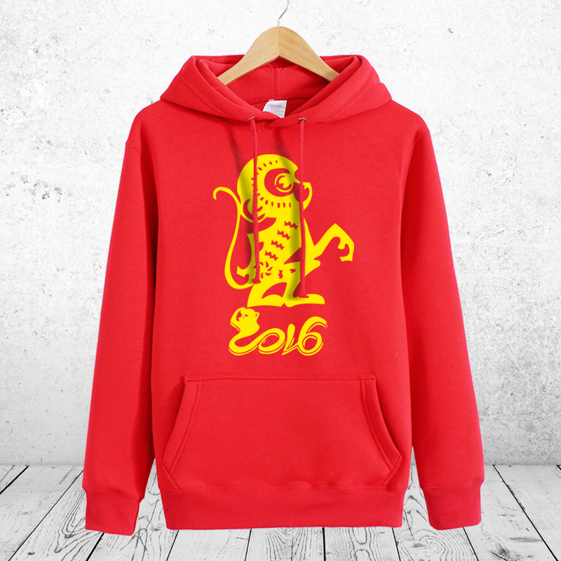Prince edward 2016 lunar new year of the monkey natal red sweater male models female monkey couple plus velvet dress winter coat