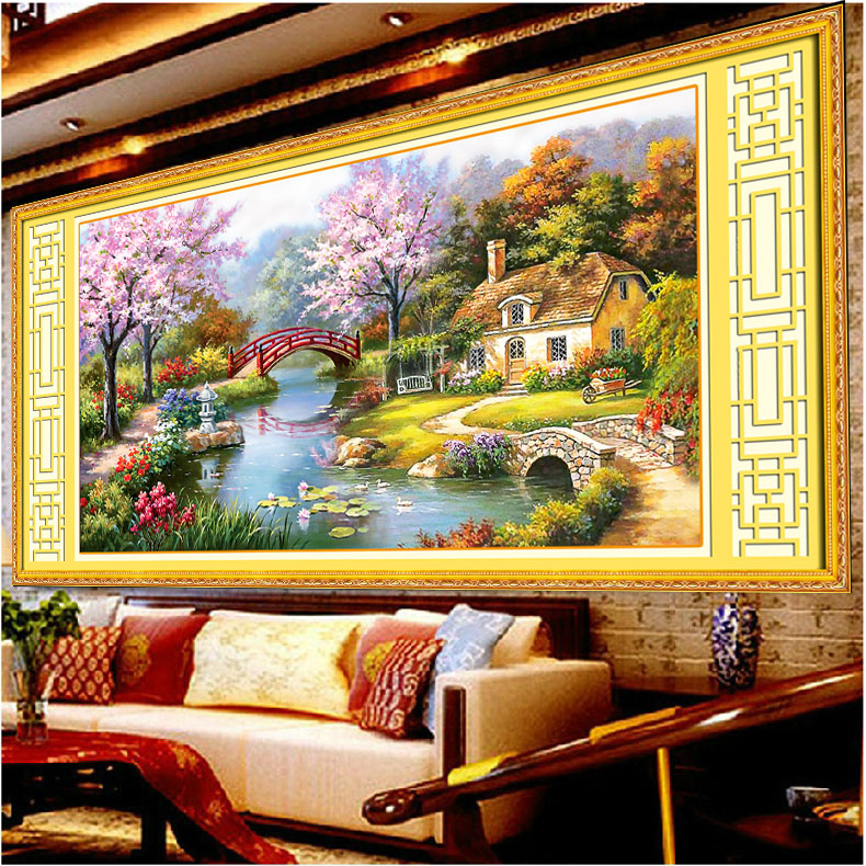 Printing stitch stitch substantial new living room continental garden cottage dream home wind landscape landscape painting modern minimalist