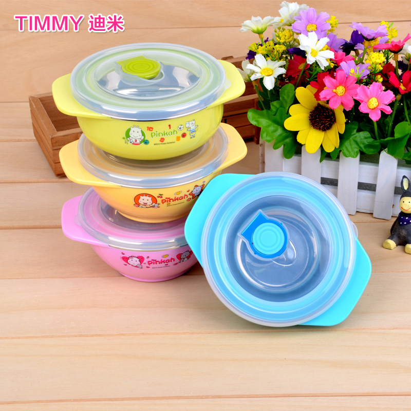 Product families product cartoon ears bowl stainless steel thermal insulation child baby bowl with lid spoon lovely double insulated