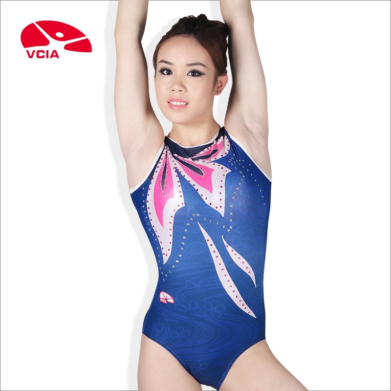 [Professional custom] vcia 2014 models women's gymnastics competition clothing clothes vest hot drilling