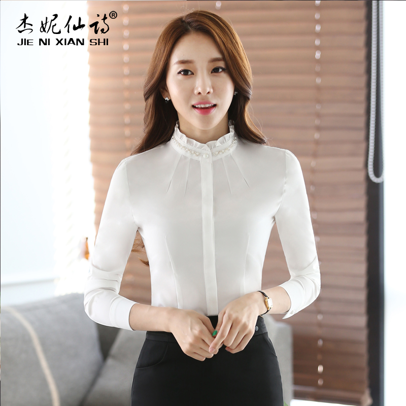 fa23419039f Get Quotations · Professional women long sleeve shirt slim was thin white  shirt skirt suits overalls big yards female
