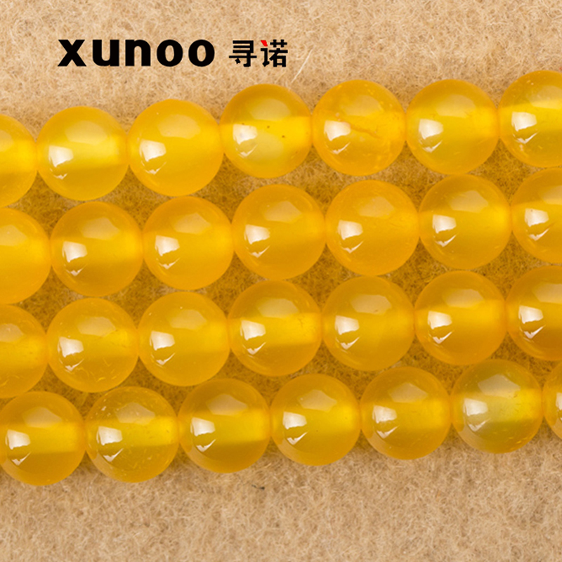 Promise to find yellow agate loose beads diy handmade jewelry accessories semifinished loose beads beaded 6 m m 8 MM