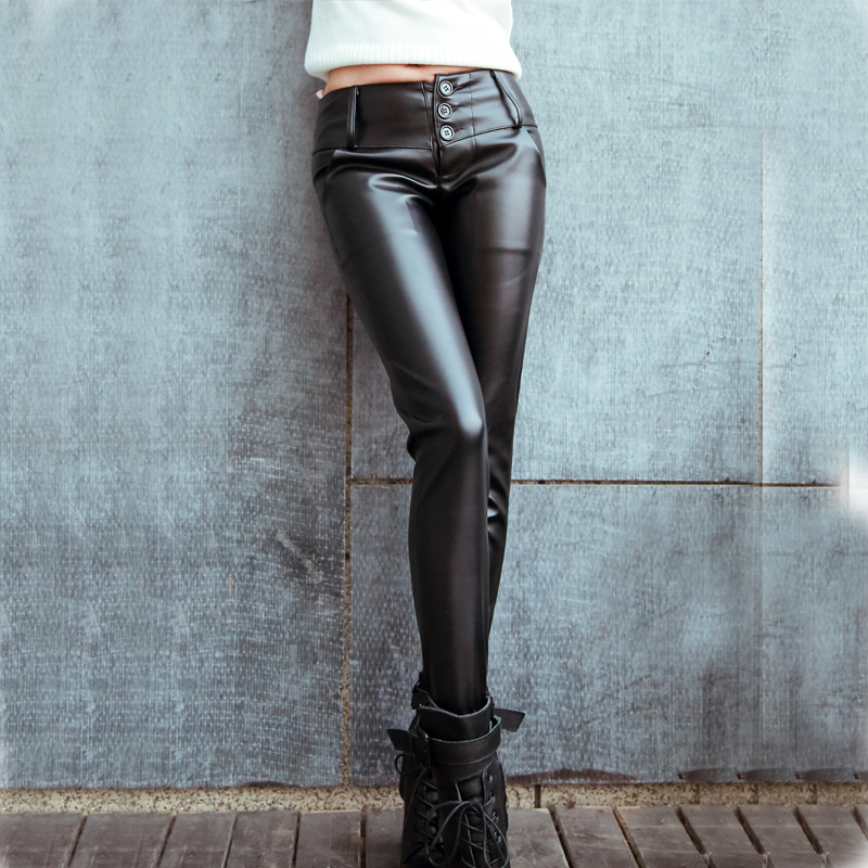 Pu leather pants female spring and autumn 2016 new tight sense of thin models big yards fat mm korean version of outer wear leather pants motorcycle leather pants 2016
