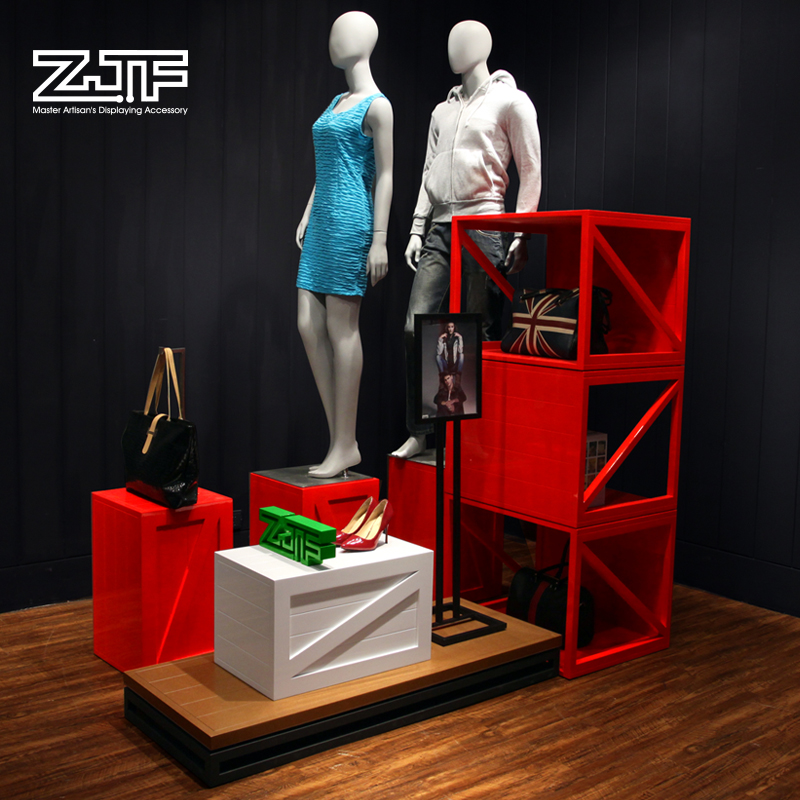 Public carpenter square zjf clothing store window display props wooden paint clothes display racks in the island shelf shoe bag shop
