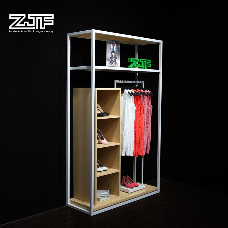 Public carpenter square zjf iron men and women clothing store display shelf display rack in the island shelf showcase showcase showcase custom d4
