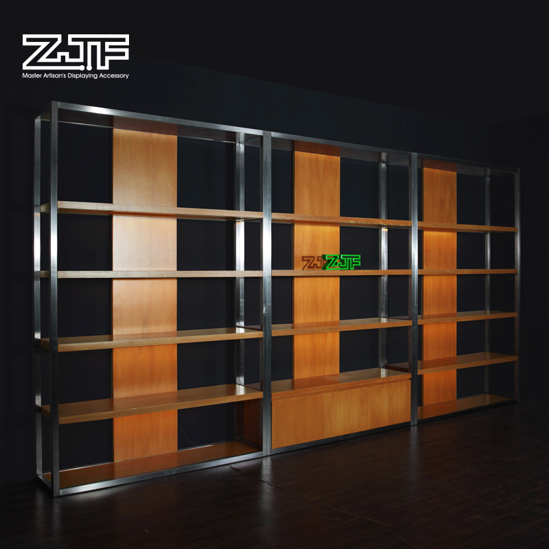 Public carpenter square zjf store luggage grade stainless steel shoe display shelf display rack clothing boutique showcase showcase showcase D2'