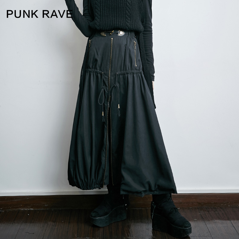 Punk rave designer brand new original punk punk rave asymmetrical solid color bust a word skirt