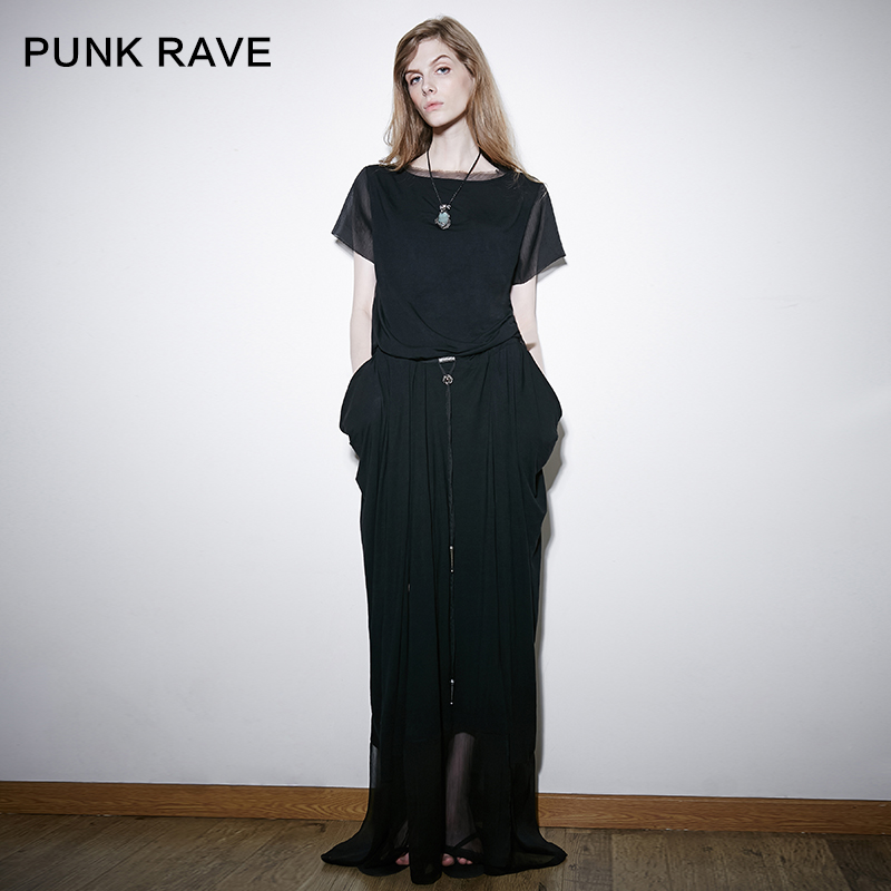 Punk rave designer brand punk punk rave autumn dress autumn female personality stitching through the back