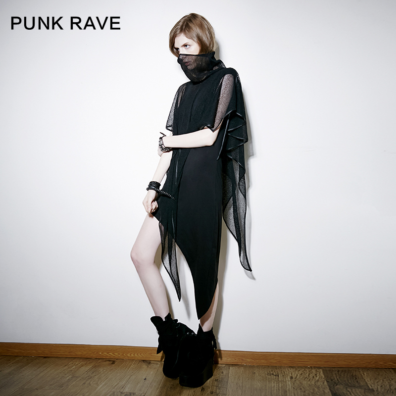 Punk rave designer brand punk rave autumn can be split gauze oblique swing dress piece