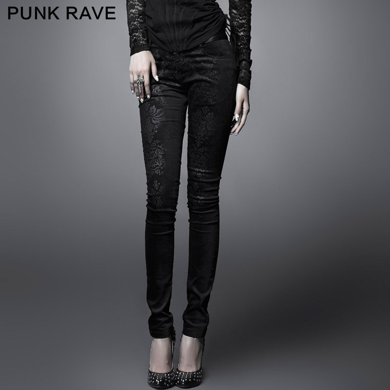 Punk rave designer brand punk RAVE2013 gort printing tight stretch pants female autumn