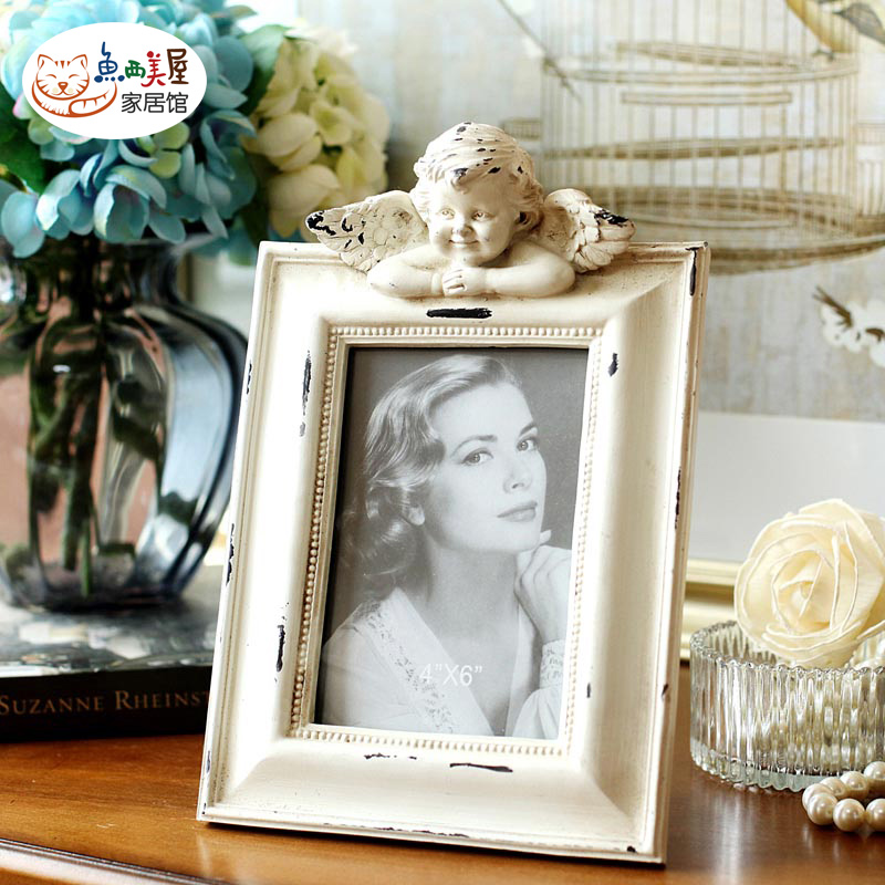 Pure angel sculpture european american retro vintage photo frame 6 inch photo wall frame home accessories ornaments