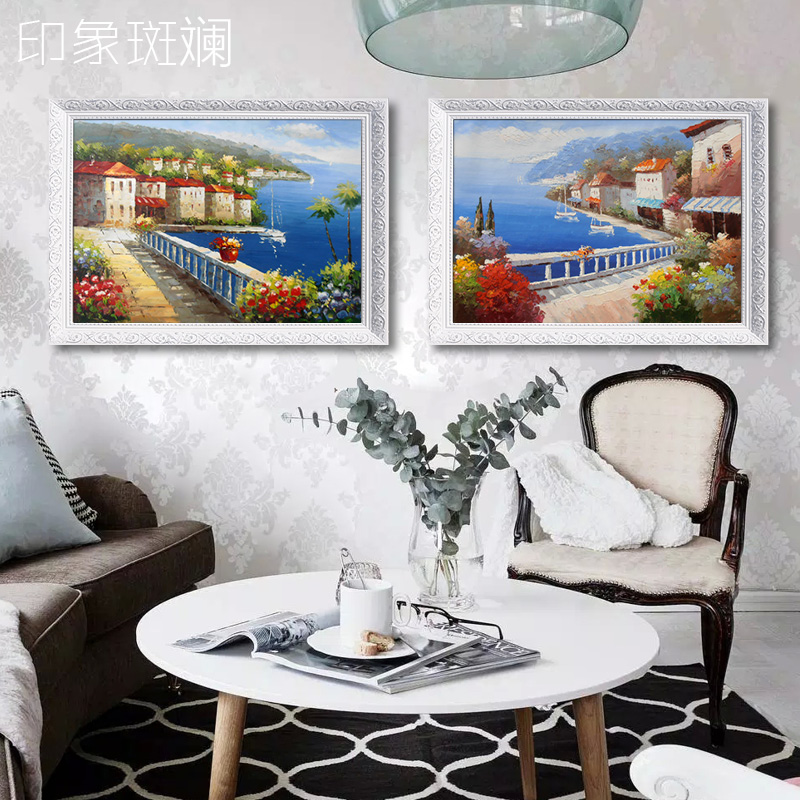 Pure hand painted oil painting modern european mediterranean natural landscape painting decorative painting living room bedroom paintings impression gorgeous