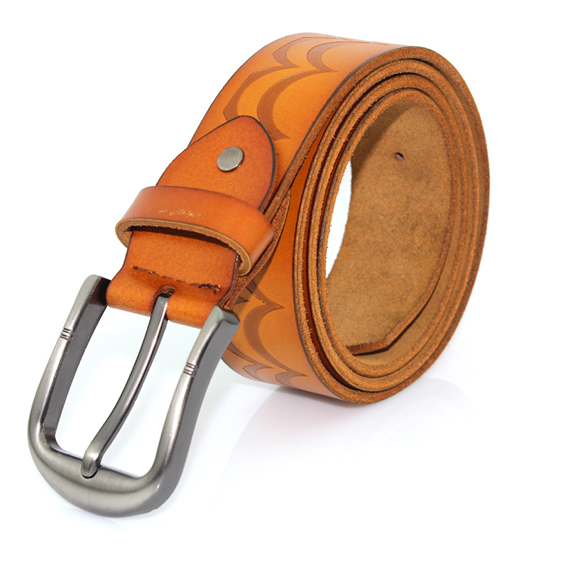 Pure positive fashion glossy leather ginning embossed personalized alloy pin buckle leather belt men's leather belt clothing accessories