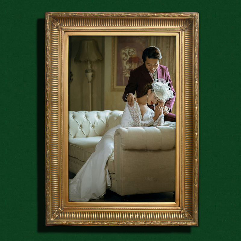 Pure solid wood export quality handmade american continental mediterranean oil painting frame wedding photo frame wall