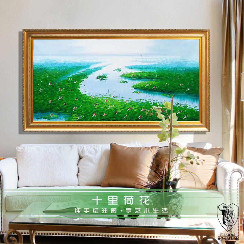 Puri fernandez pure hand painted landscape painting decorative painting the living room entrance bedroom continental genuine miles lotus