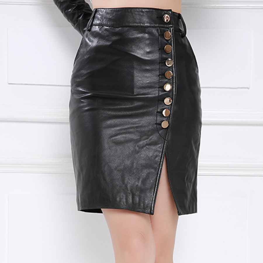 Purple舞弄skipperling crooner new leather skirt leather skirt leather skirt leather skirt sheep skin leather skirt skirts split package hip skirt button