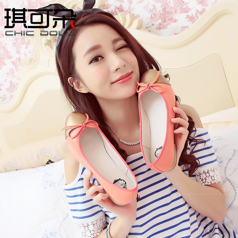 Qi can flower korean version of sweet flat shoes sheepskin round shallow mouth flat shoes 20 new fall 14