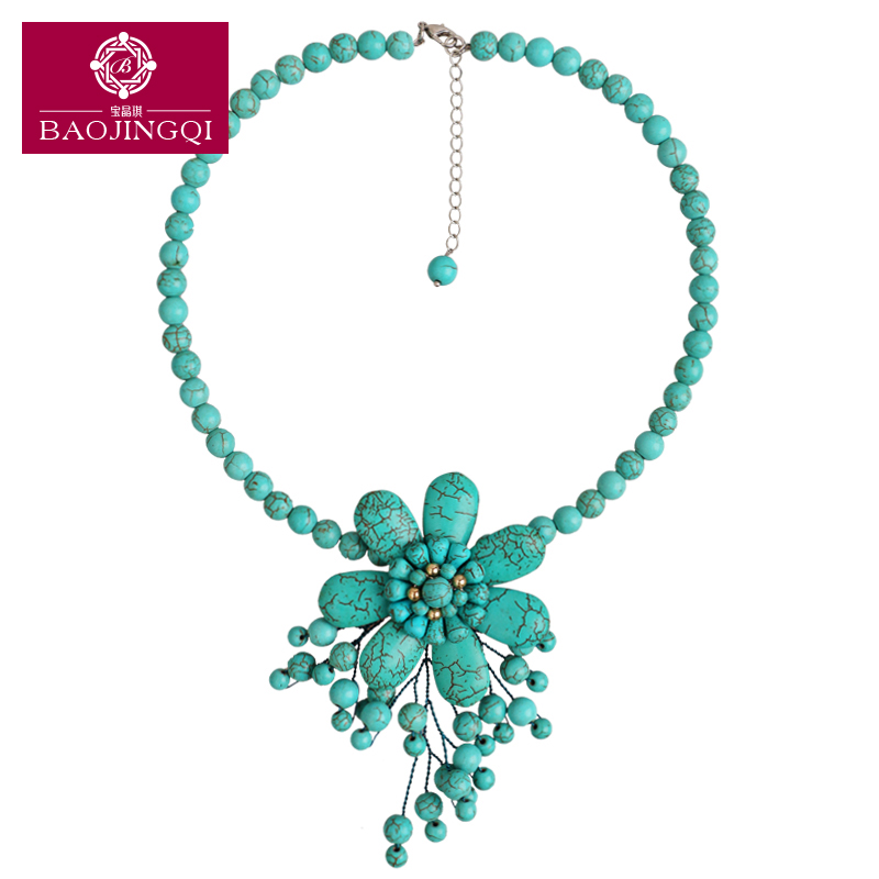 Qi jing bao synthetic turquoise necklace female flowers short paragraph clavicle chain fashion accessories in europe and america exaggerated wild decorations