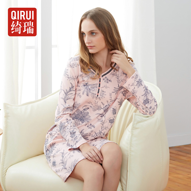 Qi rui nightgown female spring and autumn cotton long sleeve printing simple casual tracksuit skirt elegant sweet female models