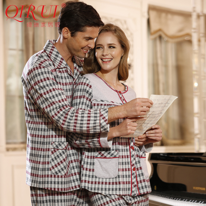 Qi rui tracksuit 2014 autumn lovers/round neck casual home pajamas suits for men and women long sleeve cotton