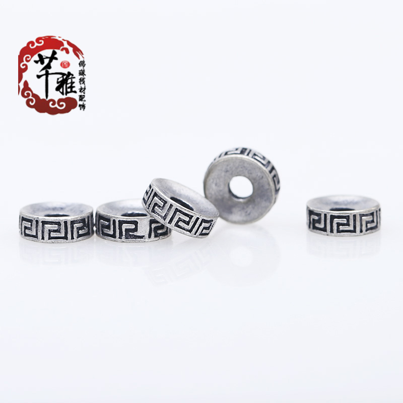 Qian ya combined gold and silver retro thousand words wall grain king pu tizi spacer spacer beads diy accessories jewelry accessories