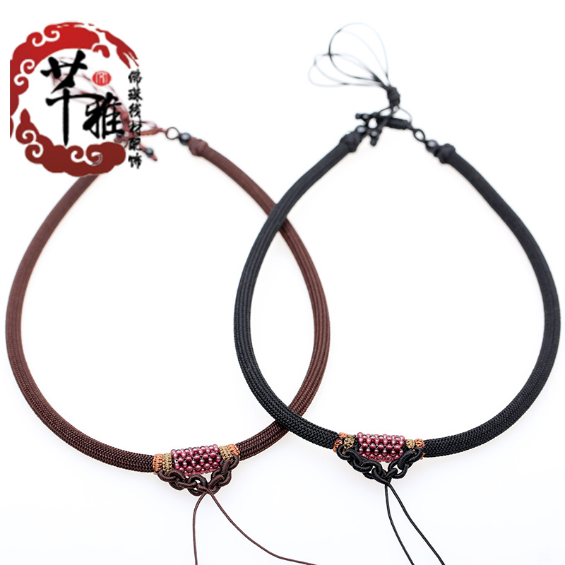 Qian ya hand braided rope necklace garnet woven lanyard diy accessories jade pendant necklace rope lanyard