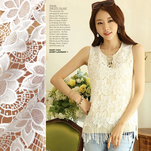 Qian yuan month heavy hollow white three-dimensional flower tassels soluble milk silk lace fabric