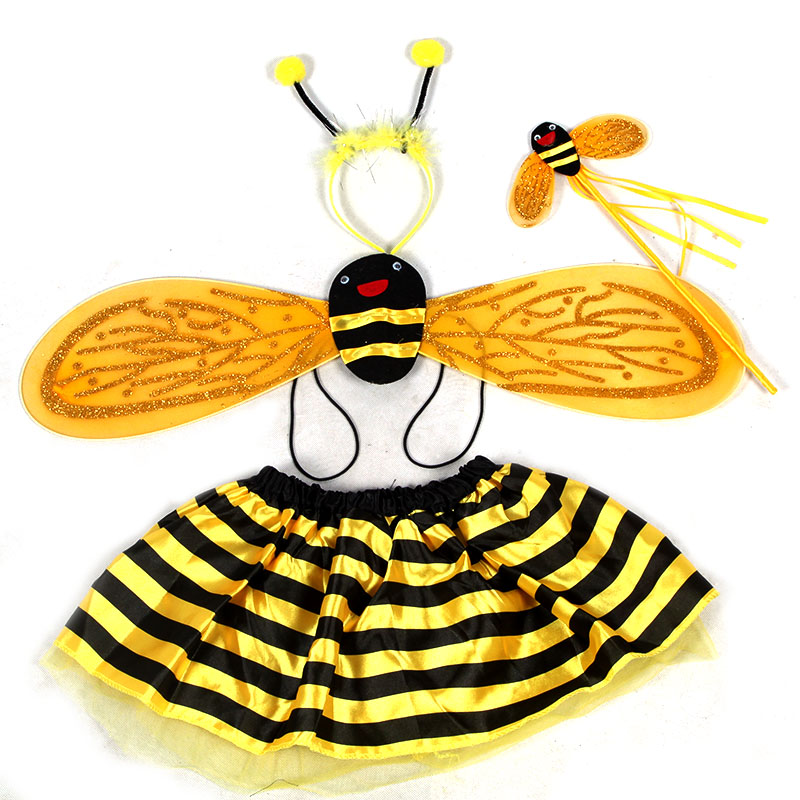 Qiao shi ting props princess dance skirt children's costumes little bee family of four cute little dragonfly