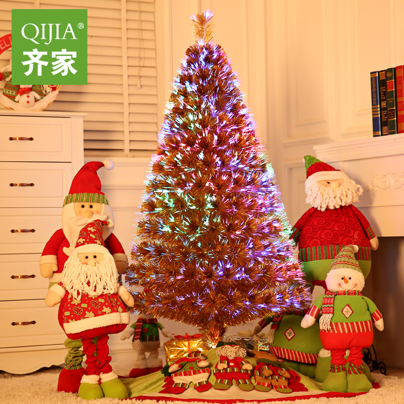 Qijia 1.5 m brown charged luminous christmas tree christmas tree christmas dress supplies fiber optic tree