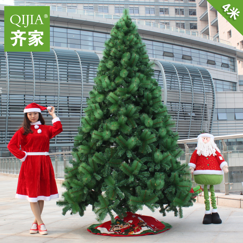 Qijia 4 m ordinary christmas tree pine needles mixed large christmas tree package christmas tree decoration
