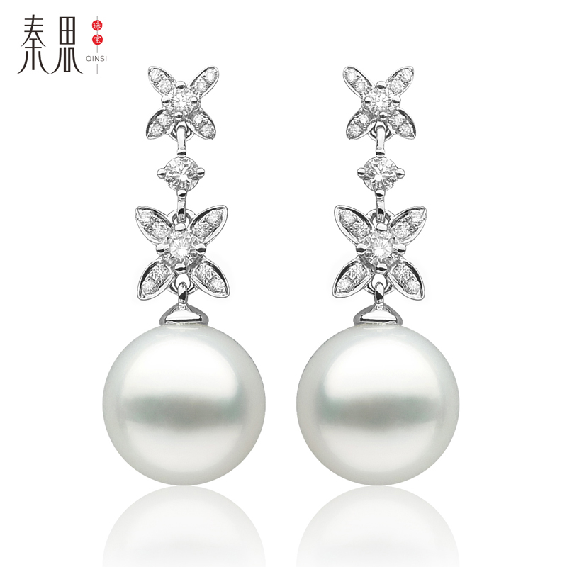 Qin think flowers series of white south sea pearl earrings jewelry earrings earrings k gold 11.9mm perfect circle