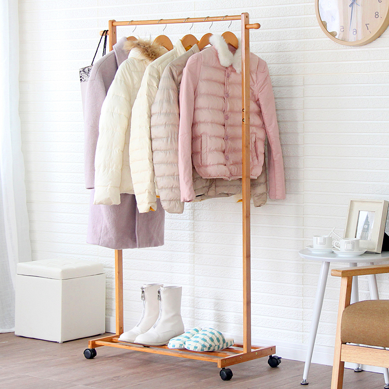 Qin yan removable bedroom wood coat rack clothes rack creative single rod hangers landed with modern minimalist
