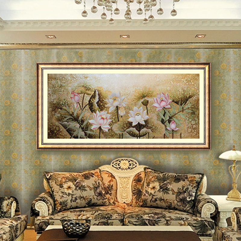 Qing yi garden new chinese lotus decorative painting framed painting the living room sofa backdrop painted gold and silver foil painting lotus