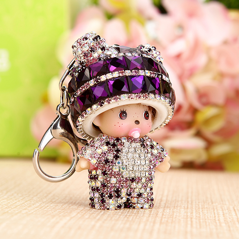 Qiqi panda female car keychain car key pendant ms. cute plush key chain free shipping