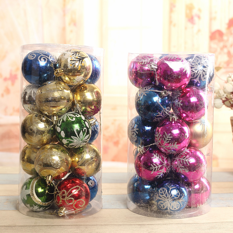 Qixuan christmas 6cm bright red and white snowflakes painted christmas balls christmas tree decorations a bucket of balls 20 100个