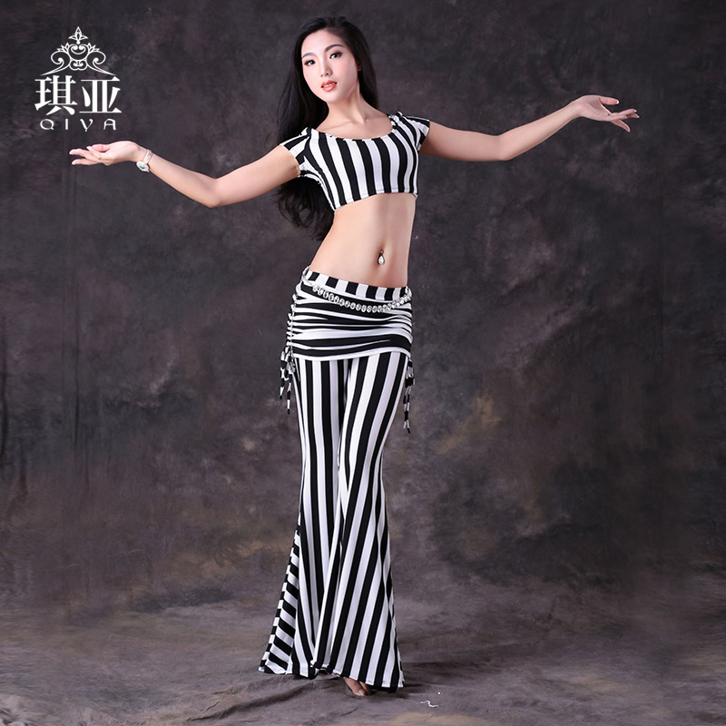 Qiya belly dance belly dance practice clothes and belly dance clothing 2016 new autumn and winter striped trousers female adult suit