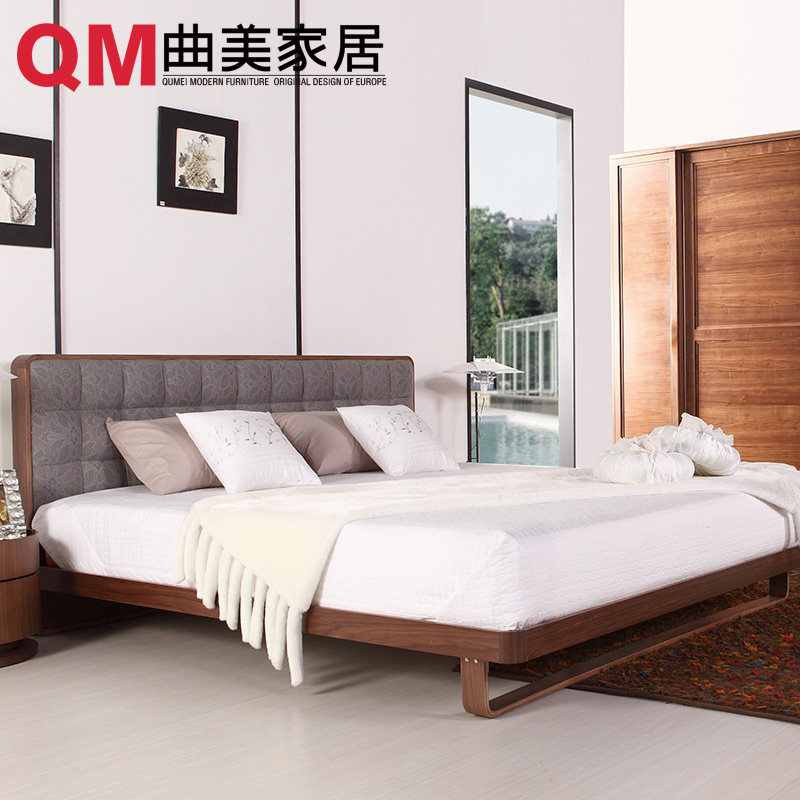 Qu mei furniture home scandinavian modern minimalist bedroom bed