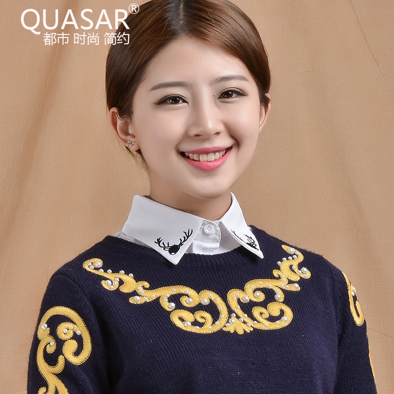 Quasar fall and winter korean fake collar collar flower embroidery fake collar collar shirt collar false collar wild female autumn and winter sweater decorated