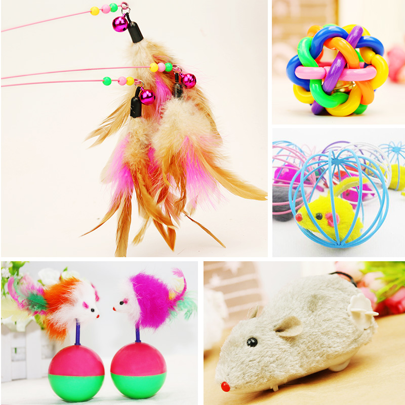 Rabbit fur ball mouse cat toy cat funny cat stick type molars catnip feather velvet wool sisal cat toy cat supplies