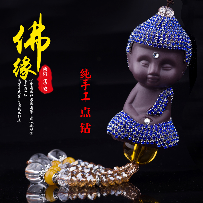 Rabbit fur rhinestone ceramic buddha car ornaments car rearview mirror ornaments car interior car ornaments supplies