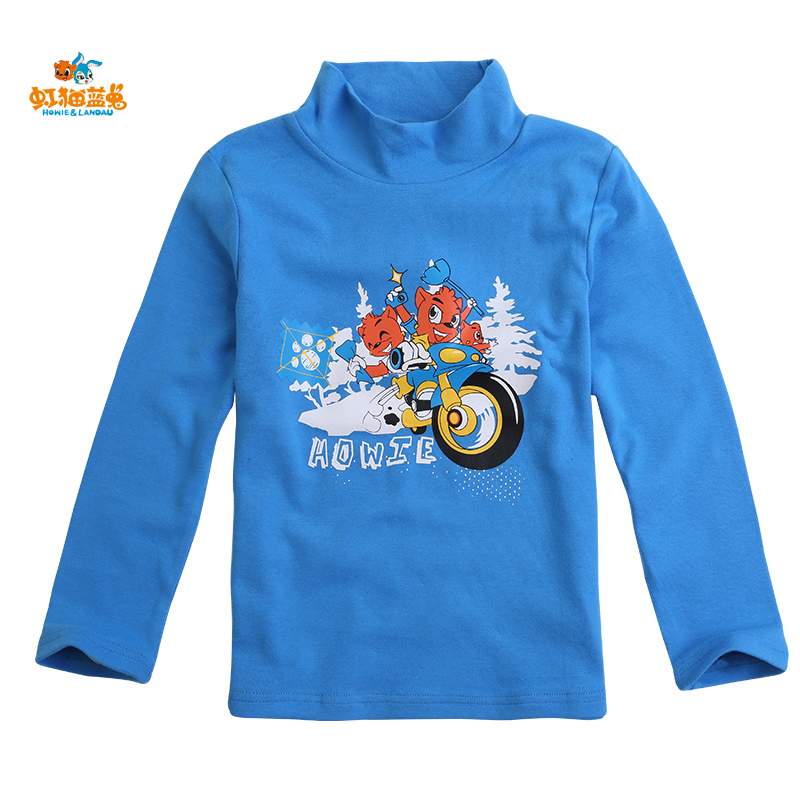 Rainbow cat and blue rabbit boys in children bottoming shirt long sleeve t-shirt children's autumn coat small children korean version of the cartoon compassionate
