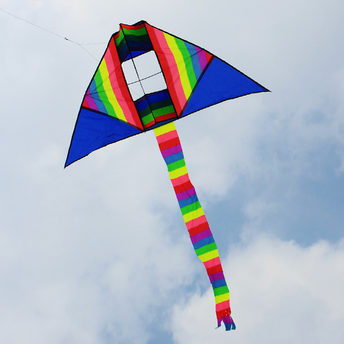 Rainbow striped kite weifang kite kite elliot elliot striped three-dimensional kite flying kites good shipping