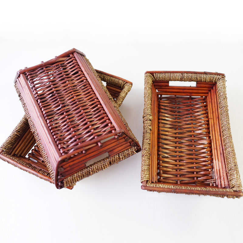 Rattan bamboo craft bamboo basket fruit basket of bread box storage basket rattan basket lmdec home accessories