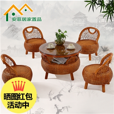 Rattan chair three sets of five pieces of small coffee table coffee table chair sets of tables and chairs outdoor patio table and chair combination rattan furniture leisure chair